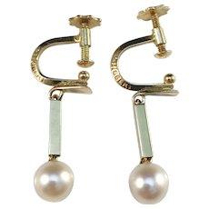 Ateljé Stigbert Stockholm year 1967 Modernist 18k Gold Cultured Pearl Earrings.