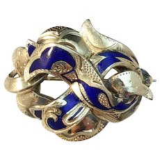 France, Victorian 18k Gold Blue Enamel Brooch.