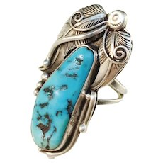 Vintage Large Navajo Sterling Silver Turquoise Ring
