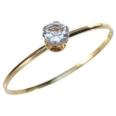 G Dahlgren, Sweden year 1968 Modernist 18k Gold Rock Crystal Open Close Bangle Bracelet. Excellent.