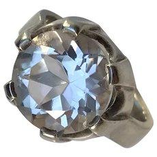 Bengt Hallberg, Sweden year 1962 Modernist Sterling Silver Rock Crystal Pinky Ring.