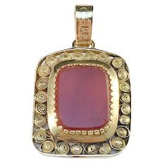 Carl Fredrik Lilja, Sweden year 1838 Early Victorian 18k Gold Carnelian Pendant.