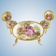 Mid 1900s French Limoges Fragonard Gilt Metal Porcelain Miniature Doll House Furniture. Italy.