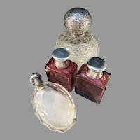 Lot Antique Victorian Silver Crystal Glass Perfume Bottles. Sweden 1858, Germany and England c 1880