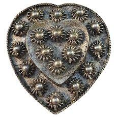 Georgian c year 1800 Silver Gilt Yellow Metal Traditional Scandinavian Heart Love Brooch.