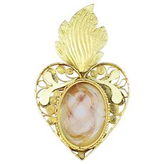 Nils Lorens Kjellberg, Sweden year 1805-19. Georgian 20k Gold Ex Voto Sacred Heart Mourning Hair Locket Pendant