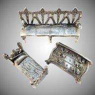 Antique Germany or Austria Jugendstil Art Nouveau Cast Massive White Metal Dollhouse Furniture Miniatures