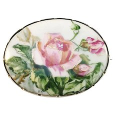Antique Early 1900s Scandinavian Sterling Silver Painted Porcelain Rose Brooch. Signed.