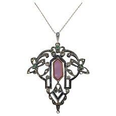 1920s Art Deco, Art Nouveau Crossover Sterling Silver Enamel Carnelian Paste and Marcasite Pendant Necklace. Prob Austria.