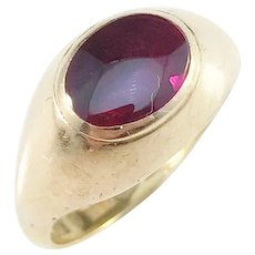 Ivan Carlson, Sweden 1930 23k Gold Band. Face in 18k Gold with Synthetic Pink Sapphire 1960s
