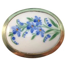 Axell Ossian, Sweden year 1918 Antique Solid Gold Washed Silver Painted Porcelain Floral Large Brooch