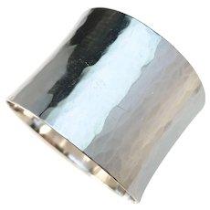 Elon Arenhill, Sweden year 1974 Massive 3.7oz Sterling Silver Hand Hammered Bangle. Signed.
