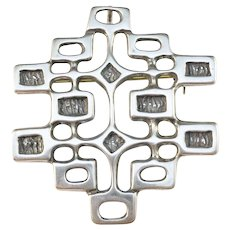 Unn Tangerud, for David Andersen Norway 1960s Sterling Silver Brooch Pendant. Excellent.