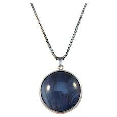 North Sweden 1960s Sterling Silver Bergslagen Stone Pendant Necklace