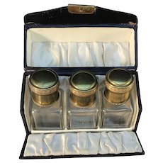 Early 1900s Continental Europe Boxed Set of 3 Perfume Bottles in Glass and Bronze.