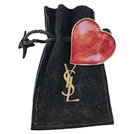 Yves Saint Laurent, France Vintage Red Heart Enamel Costume Jewelry Brooch Pendant in Original Bag.