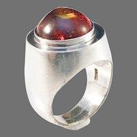 Einer Fehrn, Denmark 1960s Modernist Solid Silver Baltic Amber Ring.