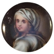 Antique Victorian Painted Porcelain Button
