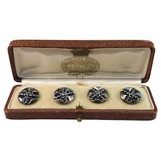 Victorian c year 1890 Boxed Cut Steel Buttons. Royal Jeweller CG Hallberg Sweden.