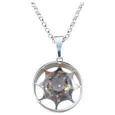 Kultasepat Salovaara, Finland 1970s Solid Silver Rock Crystal Pendant Necklace