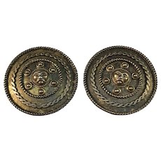 JPH&Son, Sweden year 1880 Gold Washed Silver Victorian Etruscan Revival Pair of Buttons.