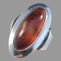 Niels Erik From, Denmark 1950-60s Sterling Silver Amber Ring.