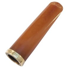 JL Nordin, Sweden year 1921, 18k Gold Amber Cheroot Holder