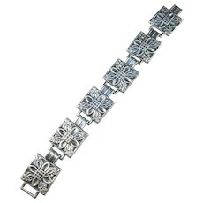 Martin Elmblad, Stockholm 1946 Mid Century Sterling Silver Panel Bracelet.