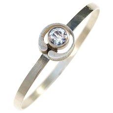 Karl Laine for Finnfeelings Finland year 1977 Sterling Silver Rock Crystal Open Close Bangle Bracelet.
