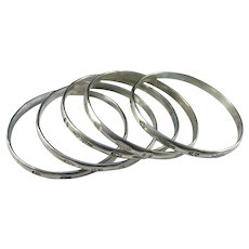 Mexico 1950-60s Sterling Silver Stack of Bangles. 3.5oz