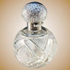Robert James Chaplin & Sons, Birmingham year 1898 Victorian Large Sterling Silver Crystal Glass Perfume Bottle