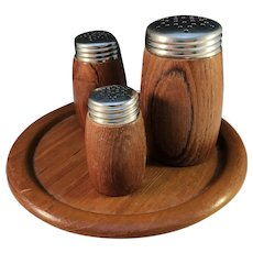 Sweden 1950s Mid Century Teak Set of Sugar, Salt and Pepper Shakers on Tray.