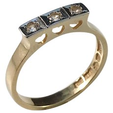 Alton, Sweden year 1974 Heart Love 18k Gold Rock Crystal Ring.