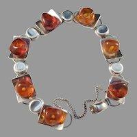 Einer Fehrn, Denmark 1960s Solid 830 Silver Baltic Amber Bracelet
