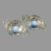 Victorian Sterling Silver Open Salt Cellars. Hallmarked, most likely France c 1870