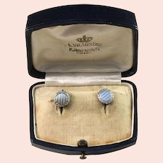 A Dragsted, Copenhagen early 1900s Solid 830 Silver Shirt Studs Buttons. Boxed.