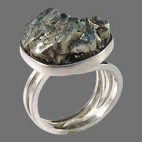 Stenlya, Stockholm year 1972 Sterling Silver Pyrite Modernist Ring.