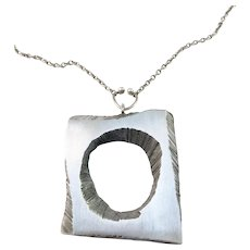Sten & Laine, Finland year 1972 Large Sterling Silver Pendant Necklace.