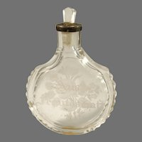 Germany early 1900s Etched Flowers and Aus Freundschaft Glass Silver Perfume Bottle. Collector's Provenance