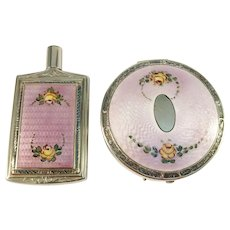 France c 1920 Enamel Silver Plate Compact and Miniature Perfume Bottle. With Museum Exhibition Provenance