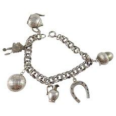 Salonius, Finland 1950s Mid Century Bismark Charm 830 Silver Bracelet.