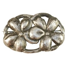 Art Nouveau c 1910s Silver Gilt White Metal Floral Brooch. Most Likely France.