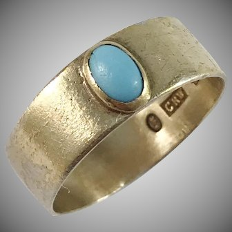Stockholm year 1907, Edwardian Solid Silver Turquoise Ring.