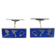 MEKA, Denmark Mid Century Modern Sterling Silver Enamel Pair of Cufflinks