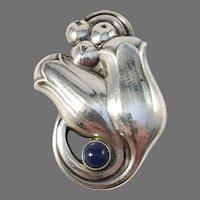 Georg Jensen, Denmark Mid Century Sterling Silver Lapis Lazuli Brooch. Excellent.