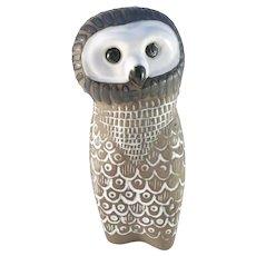 Mari Simmulson for Upsala Ekeby, Sweden 1960s Ceramic Pottery Owl Figurine