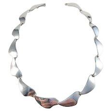 Aarre & Krogh, Denmark 1960s Sterling Silver Modernist Necklace.