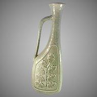 """Gunnar Nylund for Rörstrand Sweden 11"""" Tall Ceramic Pottery Vase. Design: Oak Leaves 1940s. Vintage."""