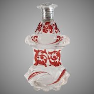 The Netherlands c 1850 Sterling Silver Ruby Stained Crystal Glass Perfume Bottle Flask. With Museum Exhibition Provenance