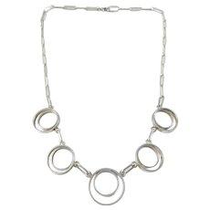 Mattsson & Olsson, Sweden year 1960-73 Sterling Silver Modernist Necklace.